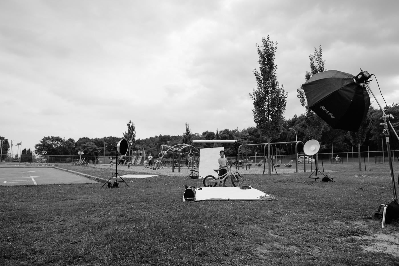 photo behind the scenes campagne my opus enfants parc