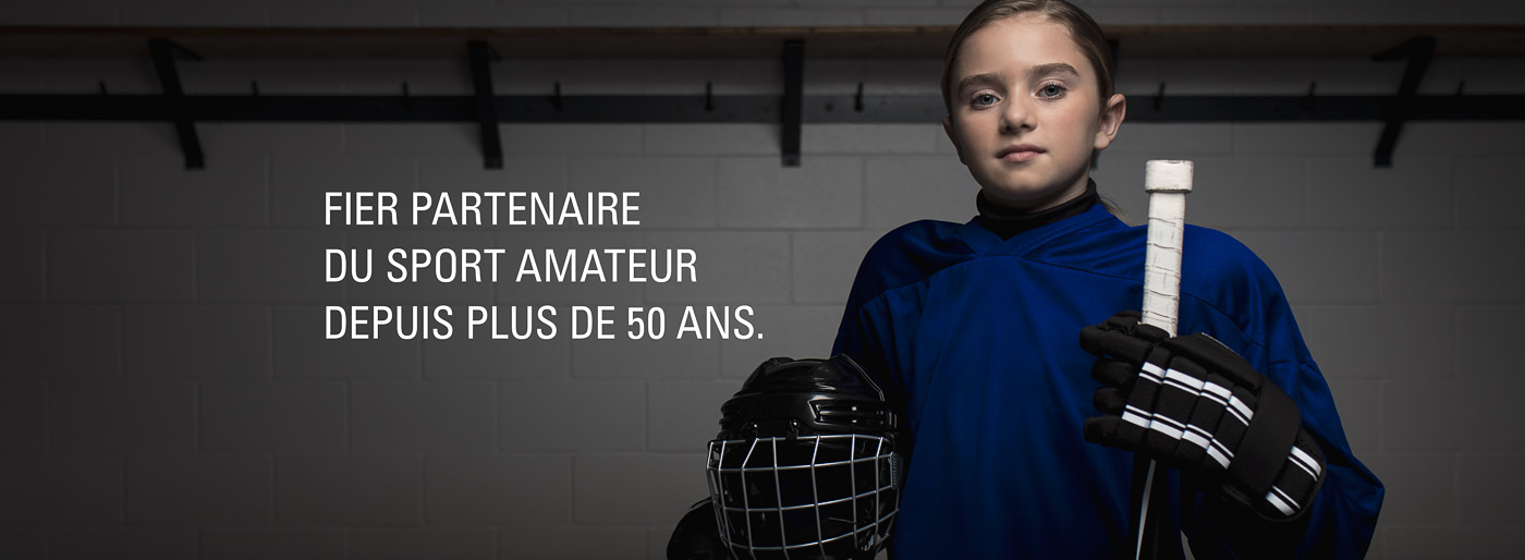 photo campagne publicitaire partenaire sports experts jeux olympiques enfant hockey
