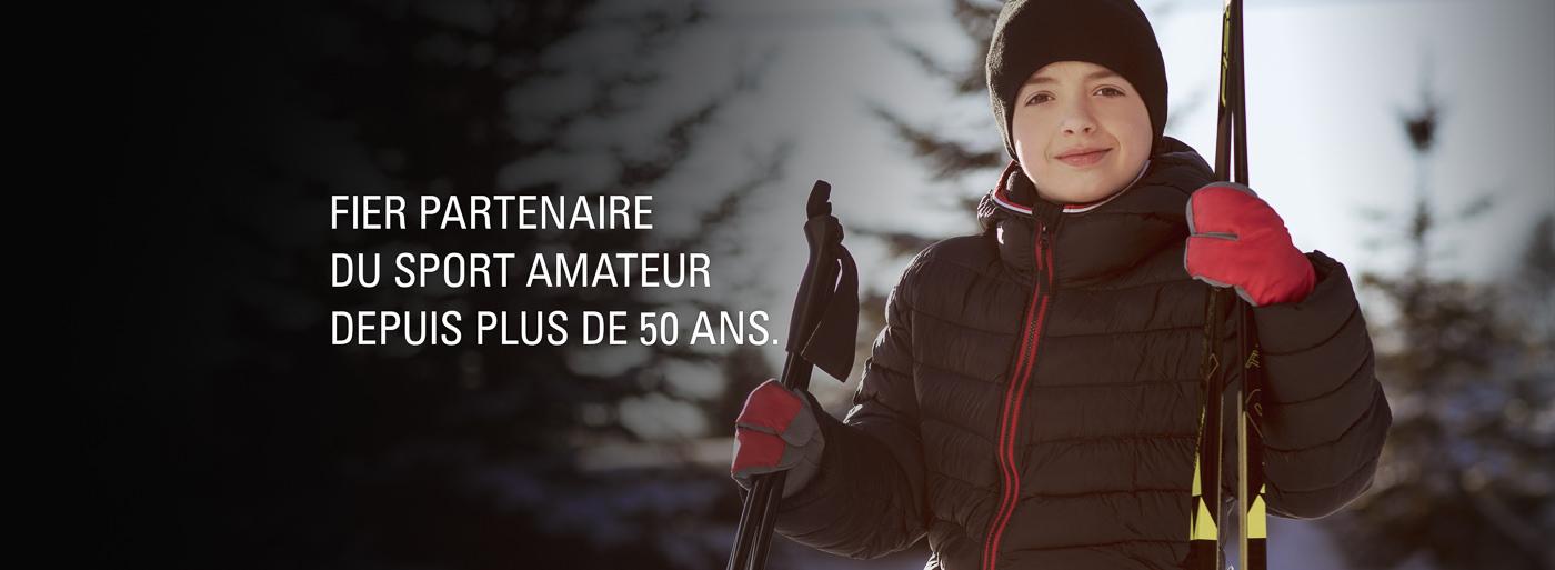 bannière publicitaire sports experts ski enfant