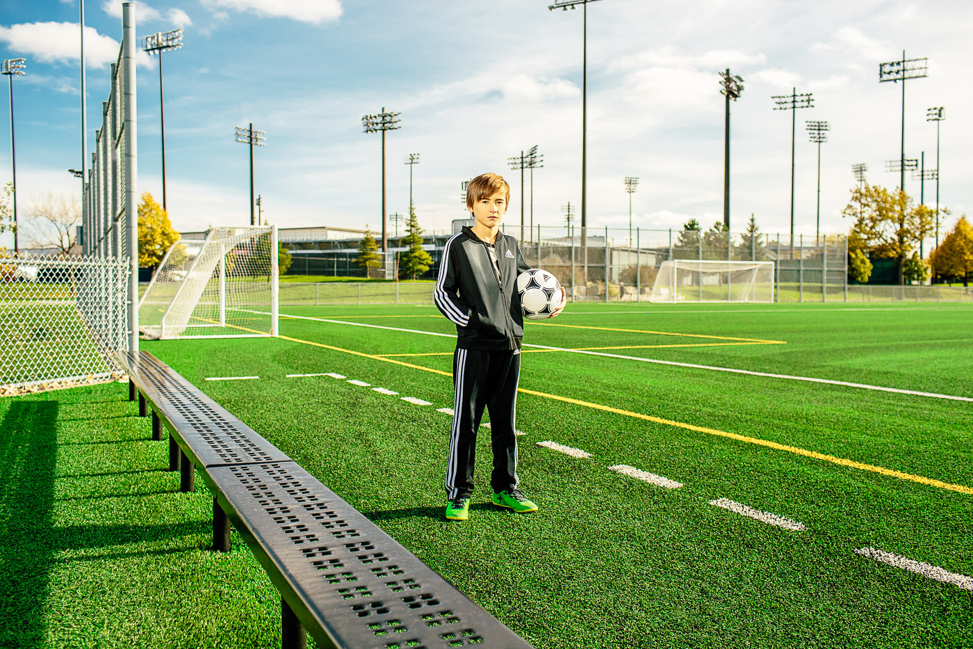 photo commerciale campagne soccer sports experts jeune joueur de soccer