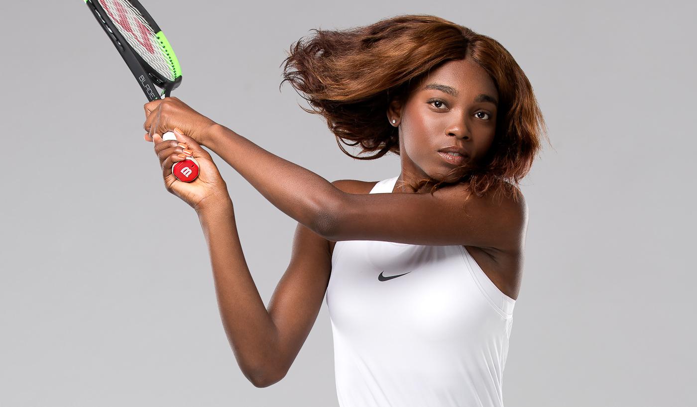 Bannière portrait joueuse équipe Tennis Canada Francoise Abanda