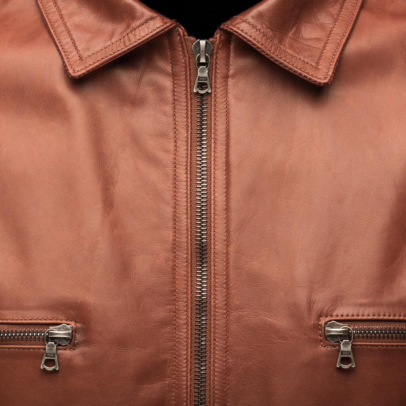 Manteau cuir couleur cognac m0851