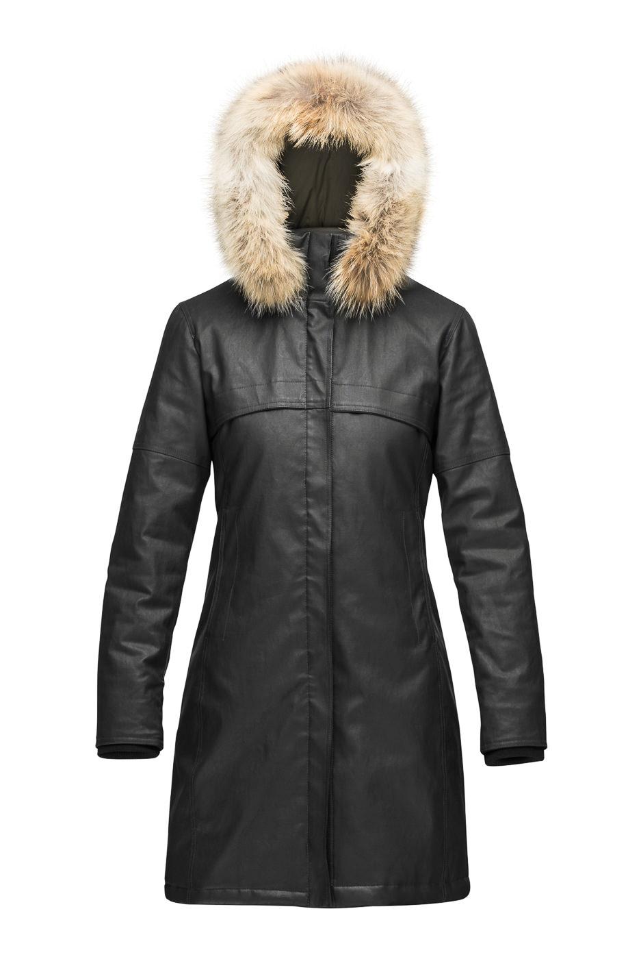 Manteau long cuir noir avec fourrure m0851
