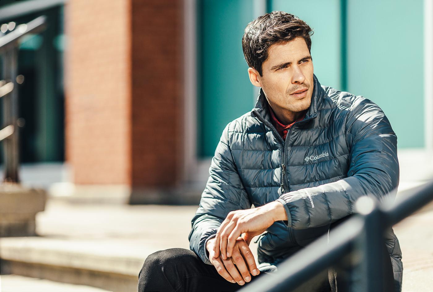 photo commercial sports experts camapagne manteau printemps urbain hommes