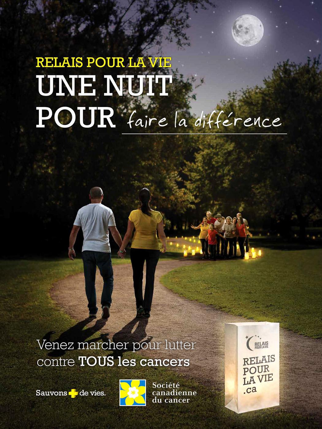 Affiche du relais pour la vie de la société canadienne du cancer
